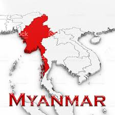 3d Map Of The World by 3d Map Of Myanmar With Country Name Highlighted Red On White
