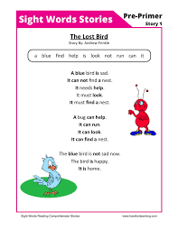 reading comprehension worksheet the lost bird