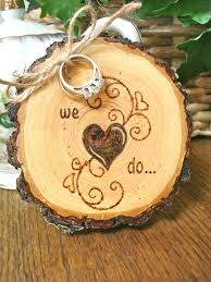 ring holder for wedding picture of rustic wedding ring holder with wood burnt decor