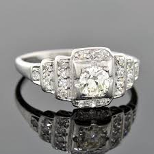 art deco platinum step up diamond engagement ring 0 40ct u2013 a