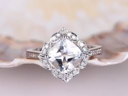 white topaz engagement ring topaz engagement ring 8mm cushion cut white topaz ring vintage