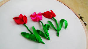 ribbon embroidery flower garden hand embroidery tulip ribbon embroidery youtube