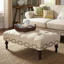 Tufted Living Room Set Natural Rectangular Fabric Ottoman Coffee Table Traditional Tufted