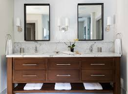 Tile Bathroom Backsplash White Herringbone Tile Backsplash Transitional Bathroom