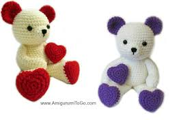 valentines teddy bears teddy with heart shaped amigurumi to go