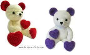 valentines teddy bears teddy with heart shaped amigurumi to go