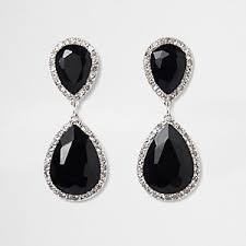 black ear studs earrings women jewellery river island