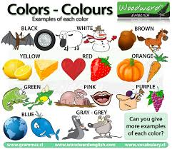 color or colour colours colors in english vocabulary los colores en inglés