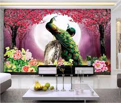 custom mural 3d wallpaper photo pink peach peacock home decor