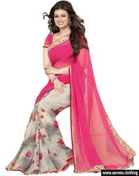 latest half light pink georgette printed saree