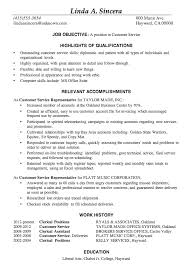 Good Job Objectives For A Resume by Resume Sample Customer Service Positions