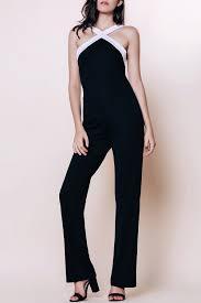 black and white jumpsuit alluring v neck sleeveless black and white spliced jumpsuit for