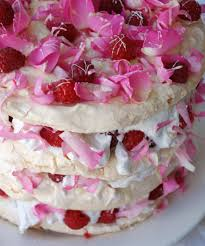 rosewater raspberry and white chocolate vacherin meringue cake