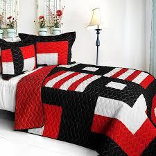 modern black white red teen bedding full queen quilt set geometric