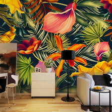 online get cheap large wall mural aliexpress com alibaba group custom wall mural tropical rainforest plant flowers banana leaves backdrop painted living room bedroom large mural wall paper