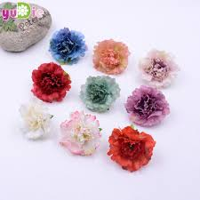 100pcs 4 5cm artificial carnation flower head candy collage diy