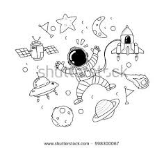 doodle galaxy invaders ufo doodle stock vector 526676506