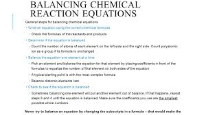 8 balancing chemical reaction equations general steps