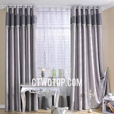 Thick Black Curtains Simple Striped Blackout Faux Silk Gray Thick Custom Curtains