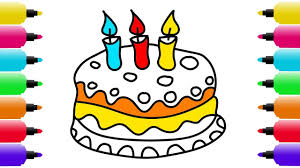 how to draw birthday cake with candles coloring pages for kids