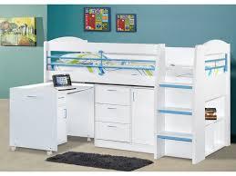 lit enfant avec bureau lit combiné dido ii 90x190 cm bleu option matelas