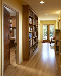 Contemporary Oak Bookcase Bruce Gunstock Oak Hardwood Floors Hall Contemporary With Bookcase
