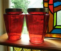 28 red glass kitchen canisters new 3pc ruby red glass jar