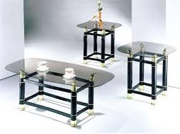 Black Glass Coffee Table Greenfield Black Glass 3pc Clear Glass Coffee Table Set 3 In 1