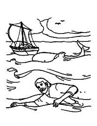 jonah swim shore jonah whale coloring netart