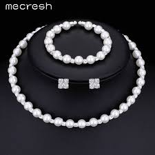 jewelry necklace bracelet images Simulated white pearl bridal jewelry set with crystal choker jpeg