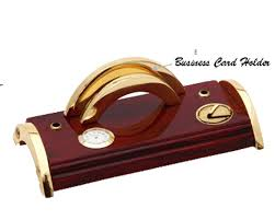elegant desk pen stand with clock and business card holder