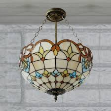 Pendant Bowl Chandelier 2 Light Beige Bowl Shade Stained Glass 12 Inch Tiffany Chandelier