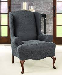 Stretch Wing Chair Slipcover Ultimate Stretch Faux Leather Wing Chair Cover