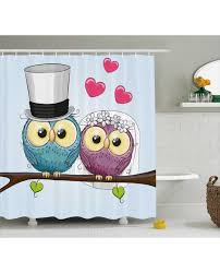 Owl Shower Curtains Shower Curtain Cartoon Married Couple Fun Print For Bathroom