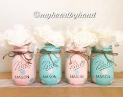 gender reveal baby shower mason jars pink and blue polka