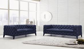 casa soma modern blue tufted leather sofa set divani casa soma modern blue tufted leather sofa set