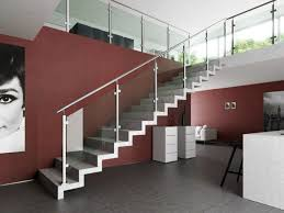 glass and stainless steel stair railing in modern house long