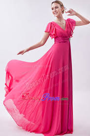 modest formal dresses for juniors pink v neck butterfly sleeves junior prom dress with fitted sash