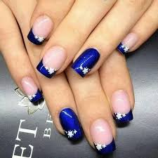 nail art blue french tip elegant 4th of july maybe with red