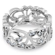 silver floral ornaments wave cz ring