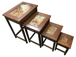 Asian Coffee Tables by Asian Hand Carved Nesting Tables Set Of 4 Chairish