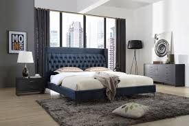 Bed Room Furniture 2016 Wales Modern Blue Fabric Bed