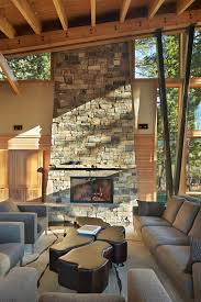 Livingroom Fireplace by Stacked Stone Fireplace Designs And The Decors Around Them