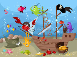 childrens wallpaper wall murals wallsauce usa sunken pirate ship mural wallpaper