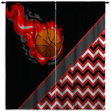 chevron black and red curtains for basketball themed girls bedroom