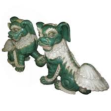 green foo dogs 19th century pair of glazed porcelain foo dogs for sale at 1stdibs