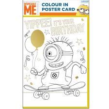 despicable minion colour poster birthday card danilo