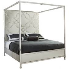 Upholstered Canopy Bed Domaine Blanc Stainless Steel Upholstered Canopy Bed Humble Abode