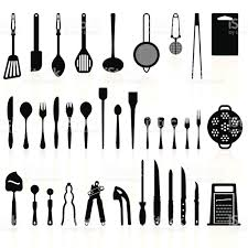 cuisine et ustensiles ustensiles de cuisine silhouette pack 2outils de cuisine cliparts