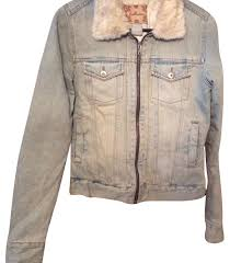 Light Denim Jacket Hollister Vintage Wash Light Denim With Cream Faux Fur Womens Jean